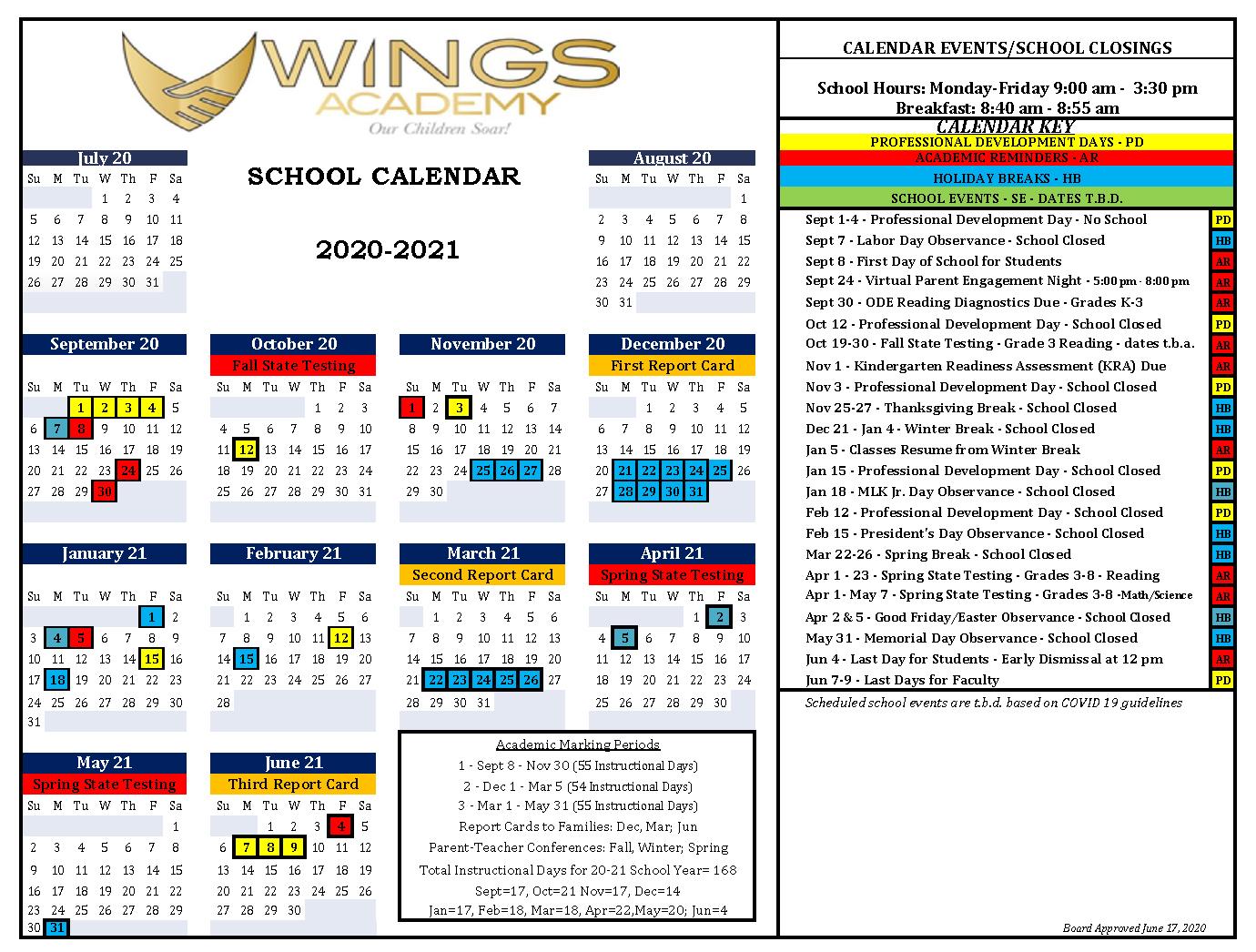 Wings School Calendar