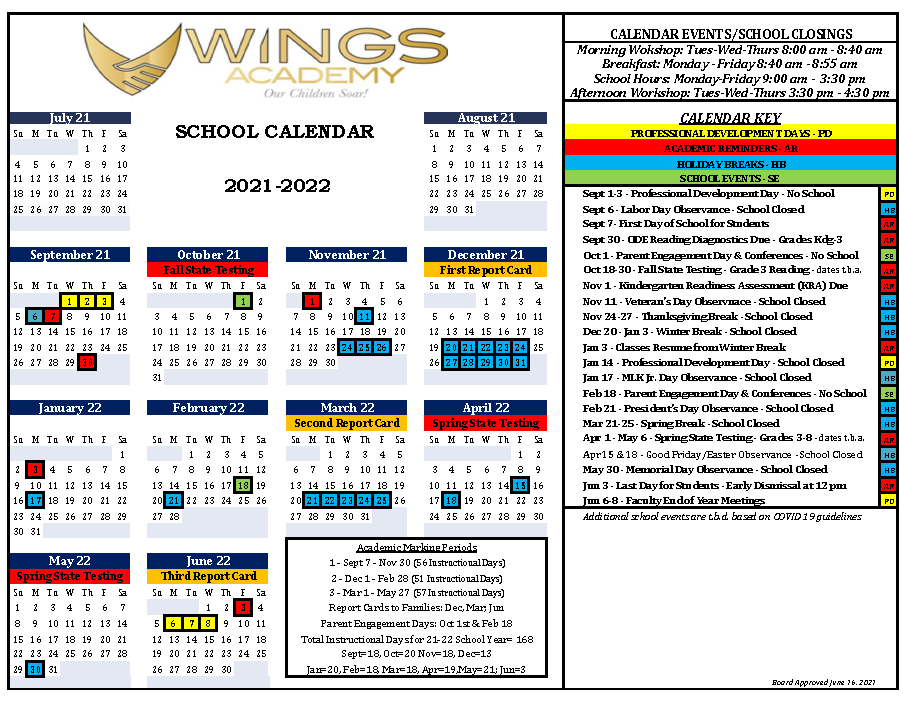 Wings Calendar
